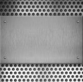 Priorità bassa della zolla di griglia dell'acciaio o del metallo con i ribattini Fotografia Stock Libera da Diritti