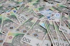 Priorità bassa delle banconote polacche Fotografie Stock