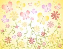 Priorità bassa delle farfalle e dei fiori della sorgente Immagini Stock Libere da Diritti