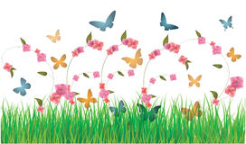 Priorità bassa delle farfalle e dei fiori della sorgente Fotografie Stock Libere da Diritti