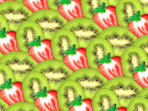 Priorità bassa delle fette fresche della fragola e del kiwi Immagini Stock