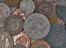 Priorità bassa delle monete di rame e d'argento Fotografia Stock