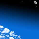 Priorità bassa delle nubi e della luna Fotografie Stock Libere da Diritti