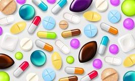 Priorità bassa delle pillole Compresse di vitamine per i buona salute ed i farmaci dell'antibiotico Insegna del manifesto per il  royalty illustrazione gratis