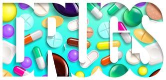 Priorità bassa delle pillole Compresse di vitamine per i buona salute ed i farmaci dell'antibiotico Insegna del manifesto per il  illustrazione vettoriale