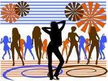 Priorità bassa delle ragazze di dancing Fotografia Stock
