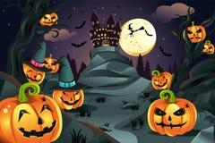 Priorità bassa delle zucche di Halloween Fotografia Stock