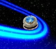 Priorità bassa dello spazio con l'anello dello zaffiro Fotografie Stock