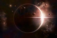 Priorità bassa dello spazio di eclipse Immagini Stock Libere da Diritti
