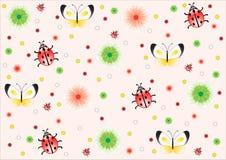 Priorità bassa dentellare delle coccinelle, farfalle, fiori Fotografie Stock