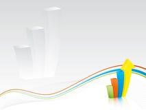 Priorità bassa di affari - diagramma a colonna con le onde Fotografia Stock Libera da Diritti