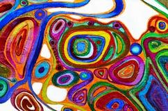 Priorità bassa di arte astratta Pittura a olio su tela di canapa Struttura luminosa multicolore Frammento di materiale illustrati Fotografie Stock Libere da Diritti