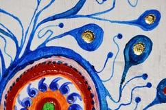 Priorità bassa di arte astratta Pittura a olio su tela di canapa Struttura luminosa multicolore Frammento di materiale illustrati Fotografia Stock Libera da Diritti