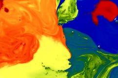 Priorità bassa di arte astratta Struttura luminosa multicolore Arte contemporanea Pittura a olio su tela di canapa Frammento di m fotografie stock