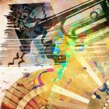 Priorità bassa di arte con la siluetta della tromba illustrazione di stock