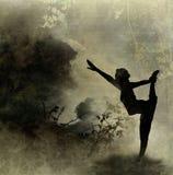 Priorità bassa di arte di yoga su tela di canapa Fotografie Stock Libere da Diritti