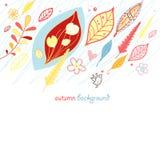Priorità bassa di autunno con i fogli Immagini Stock
