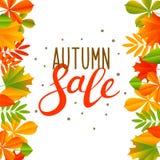 Priorità bassa di autunno con i fogli di colore royalty illustrazione gratis