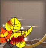 Priorità bassa di autunno con i fogli gialli illustrazione vettoriale