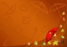 Priorità bassa di autunno con un ombrello Fotografia Stock