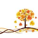 Priorità bassa di autunno dell'albero, vettore Fotografie Stock Libere da Diritti