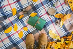 Priorità bassa di autunno Stivali su un plaid in una foresta con le foglie gialle, un libro e la tazza di caffè immagine stock