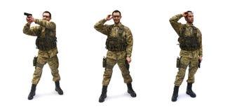 Priorità bassa di bianco del soldato di Airsoft Fotografie Stock Libere da Diritti