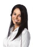 Priorità bassa di bianco dell'operatore di servizio di assistenza al cliente Fotografia Stock