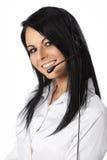 Priorità bassa di bianco dell'operatore di servizio di assistenza al cliente Fotografie Stock Libere da Diritti