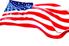 Priorità bassa di bianco della bandiera americana immagini stock
