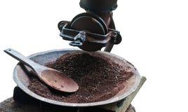 Priorità bassa di bianco della smerigliatrice del laminatoio di caffè dell'annata Fotografia Stock