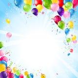 Priorità bassa di buon compleanno con gli aerostati Fotografie Stock
