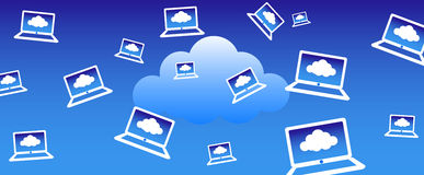 Priorità bassa di calcolo del computer portatile della nube royalty illustrazione gratis