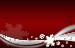 Priorità bassa di colore rosso dell'argento dell'illustrazione di natale del fiocco di neve Fotografia Stock Libera da Diritti