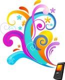 Priorità bassa di concetto con un telefono mobile Fotografie Stock Libere da Diritti