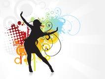 Priorità bassa di dancing della ragazza Immagine Stock