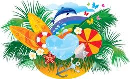 Priorità bassa di estate con le palme, surf del delfino, Fotografia Stock