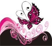 Priorità bassa di estate di vettore con la farfalla royalty illustrazione gratis
