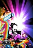 Priorità bassa di evento di musica con figura del DJ Immagini Stock Libere da Diritti