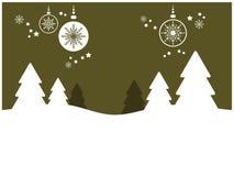 Priorità bassa di festa con gli alberi e gli ornamenti (i) Fotografia Stock