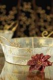 Priorità bassa di festa del cestino dell'oro Fotografia Stock