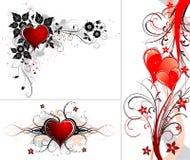 Priorità bassa di giorno dei biglietti di S. Valentino con i cuori ed il fiore illustrazione vettoriale