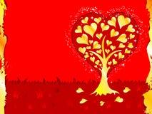Priorità bassa di giorno dei biglietti di S. Valentino con l'albero ed i cuori Fotografia Stock Libera da Diritti