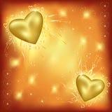 Priorità bassa di giorno del biglietto di S. Valentino con i cuori dorati Fotografia Stock Libera da Diritti