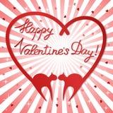 Priorità bassa di giorno del biglietto di S. Valentino con i gatti Fotografia Stock Libera da Diritti