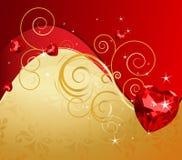 Priorità bassa di giorno del biglietto di S. Valentino dorato Fotografia Stock Libera da Diritti