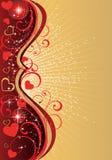 Priorità bassa di giorno del biglietto di S. Valentino dorato Fotografie Stock