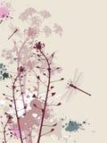 Priorità bassa di Grunge con i fiori e la libellula Fotografie Stock