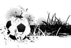 Priorità bassa di Grunge con la sfera di calcio Immagini Stock
