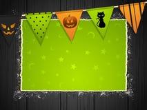 Priorità bassa di Halloween con bunting sul legno Immagine Stock Libera da Diritti